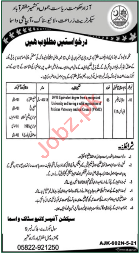 Livestock & Dairy Development Muzaffarabad Jobs 2021