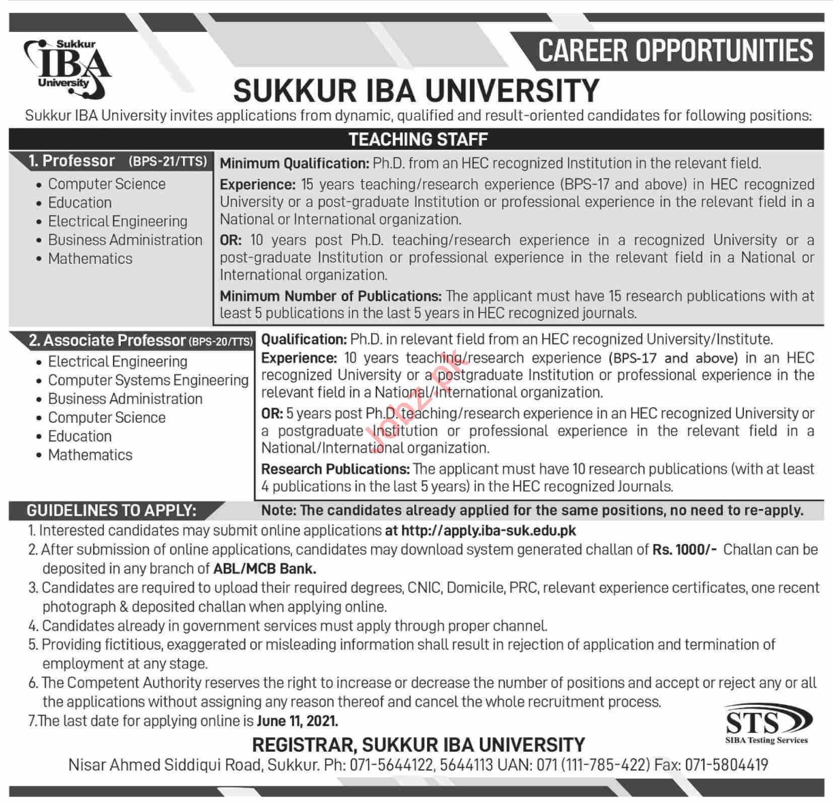 Sukkur IBA University Teaching Staff Jobs 2021