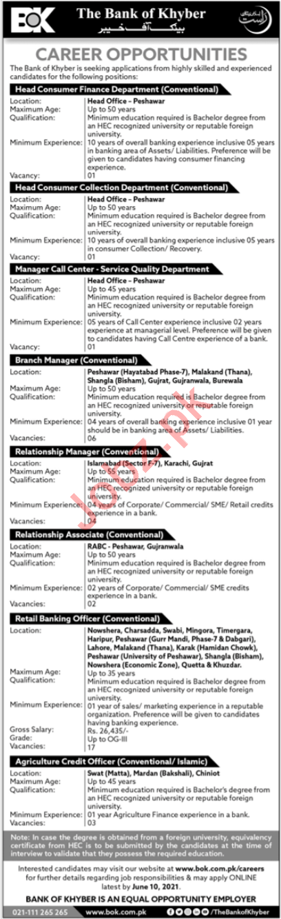 The Bank of Khyber BOK Jobs 2021 Branch Manager & Manager