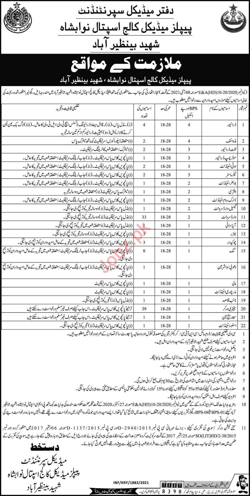 Peoples Medical College Hospital Shaheed Benazirabad Jobs