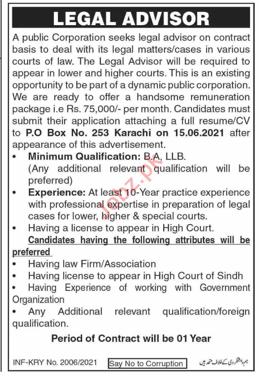 P O Box No 253 Karachi Jobs 2021 for Legal Advisor