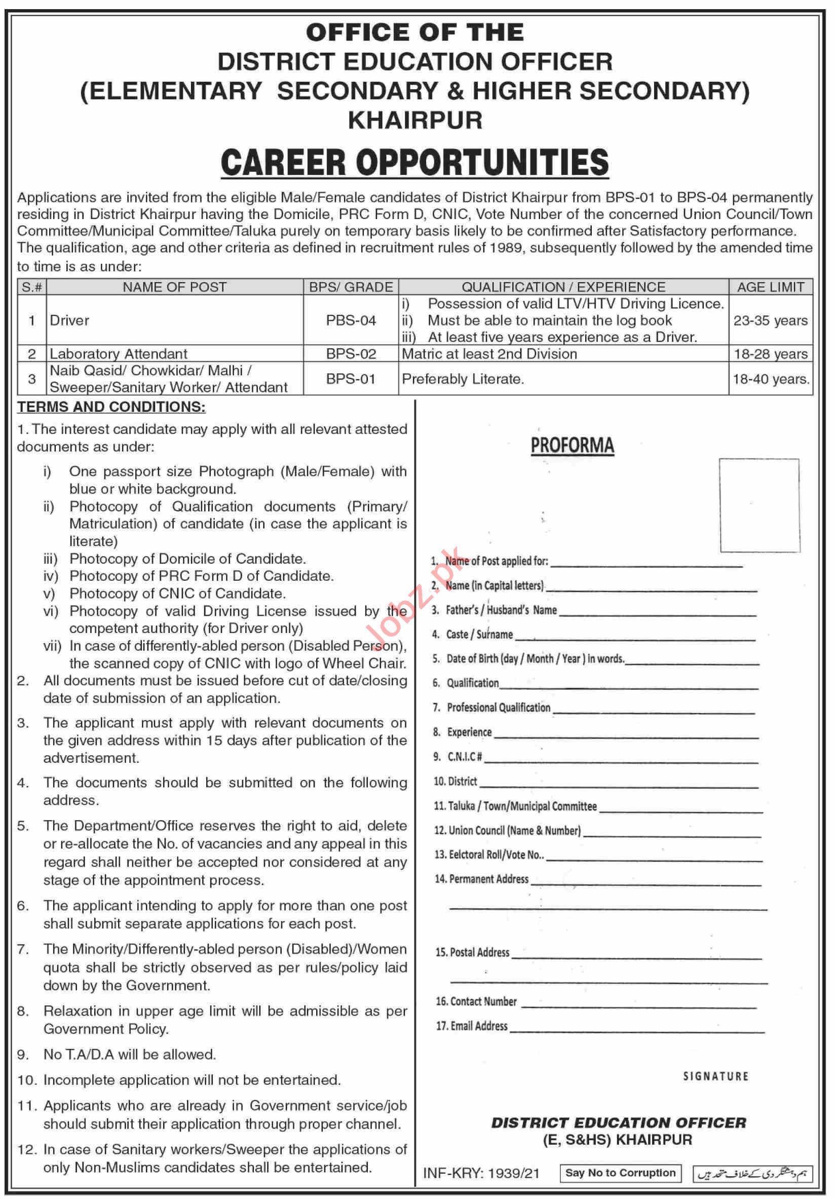 Elementary Secondary & Higher Secondary Khairpur Jobs 2021