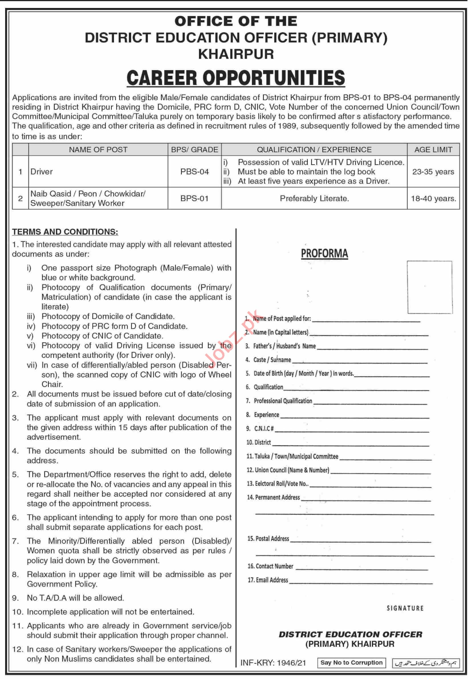 District Education Officer DEO Primary Khairpur Jobs 2021