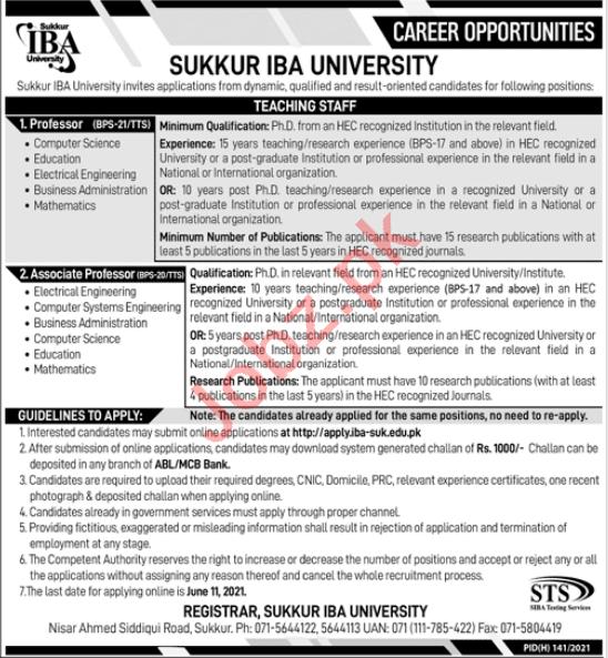 Sukkur IBA University Jobs 2021 for Professors
