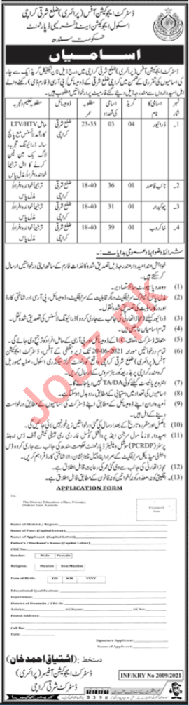 District Education Officer Primary East Karachi Jobs 2021