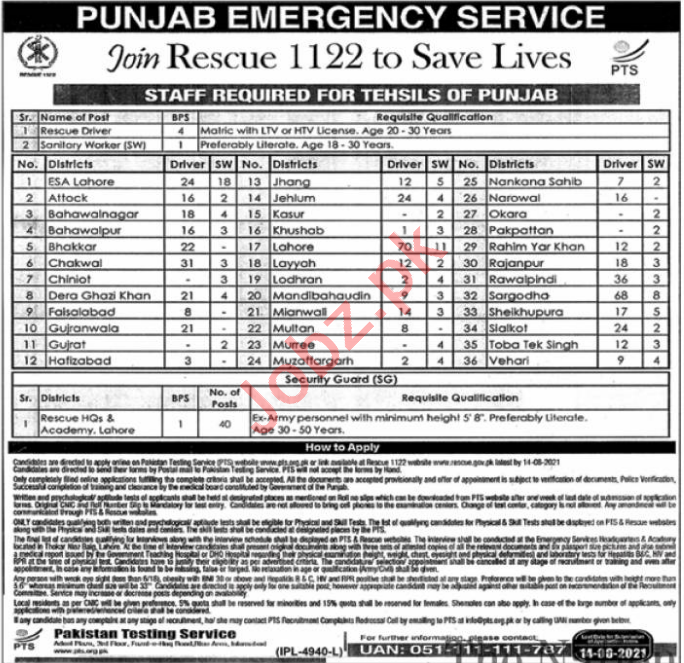 Punjab Emergency Service Rescue 1122 Jobs 2021 for Drivers