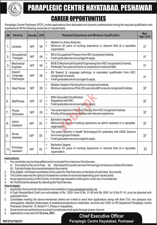 Paraplegic Center Hayatabad Peshawar PCP Jobs 2021