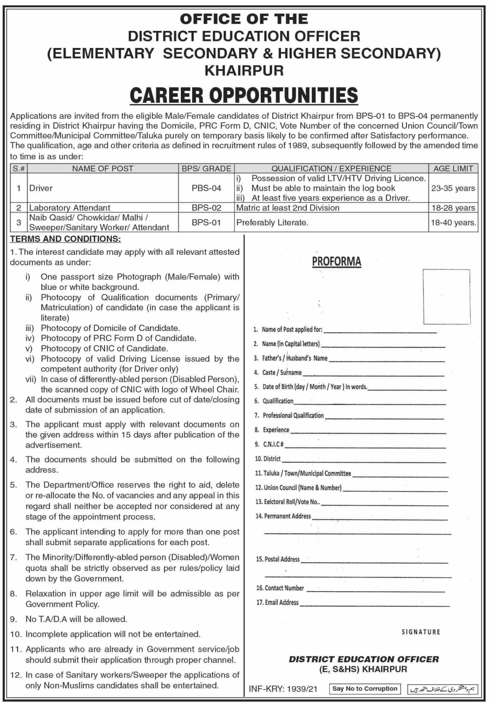 District Education Office Khairpur BPS 1 to BPS 4 Jobs 2021