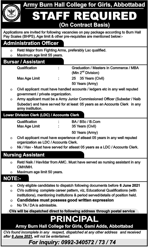 Army Burn Hall College of Girls Jobs 2021 in Abbottabad