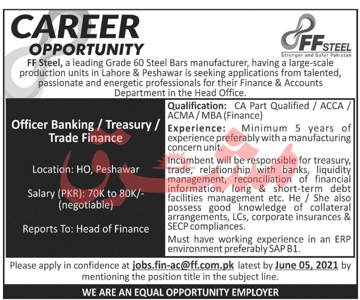 FF Steel Manufacturer Banking Officer Jobs 2021