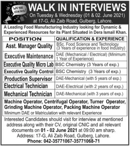 Food Manufacturing Industry Walk In Interviews 2021