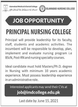 Islamabad Medical & Dental College Job 2021 For Principal