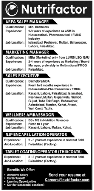 Nutrifactor Laboratories Pvt Limited Jobs 2021