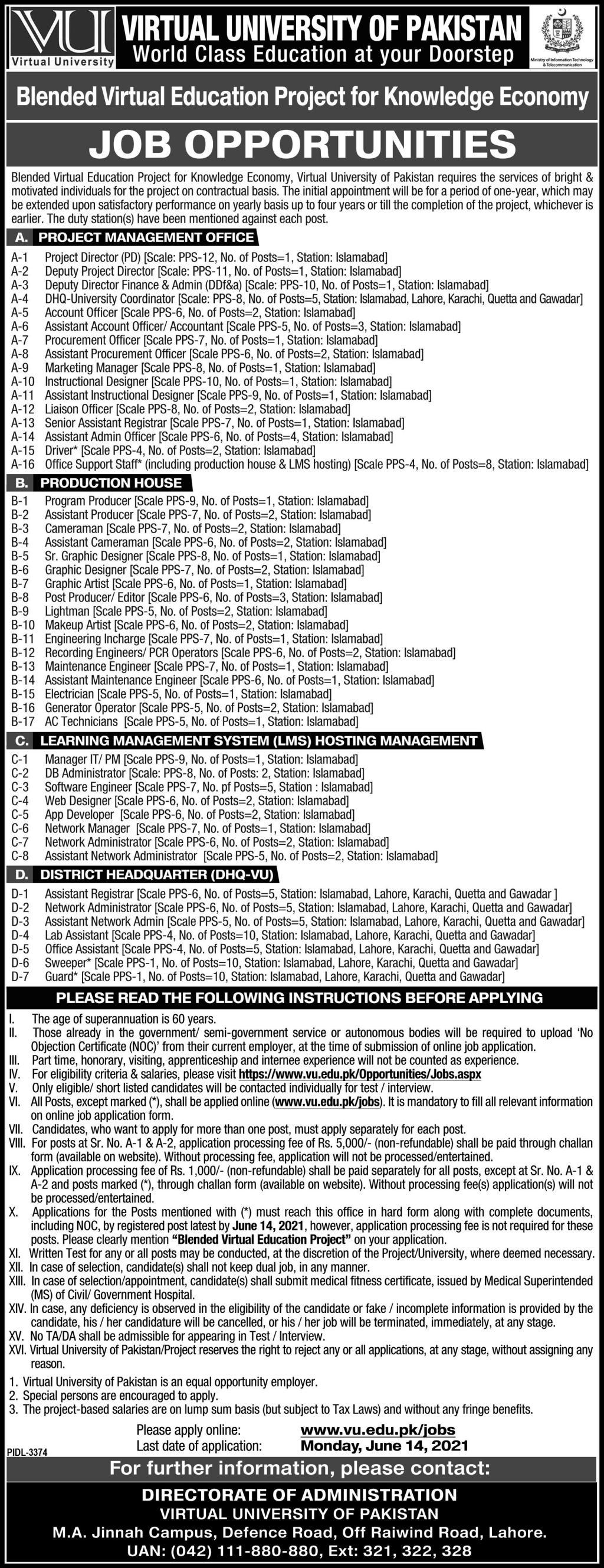 Virtual University of Pakistan VU Jobs 2021