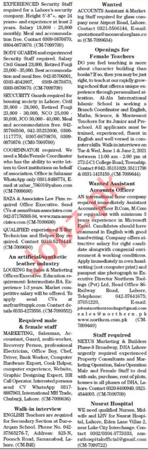 The News Sunday Classified Ads 30 May 2021 General Staff