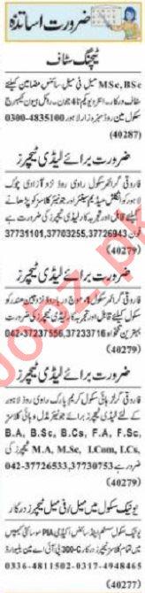 Nawaiwaqt Sunday Classified Ads 30 May 2021 Teaching Staff