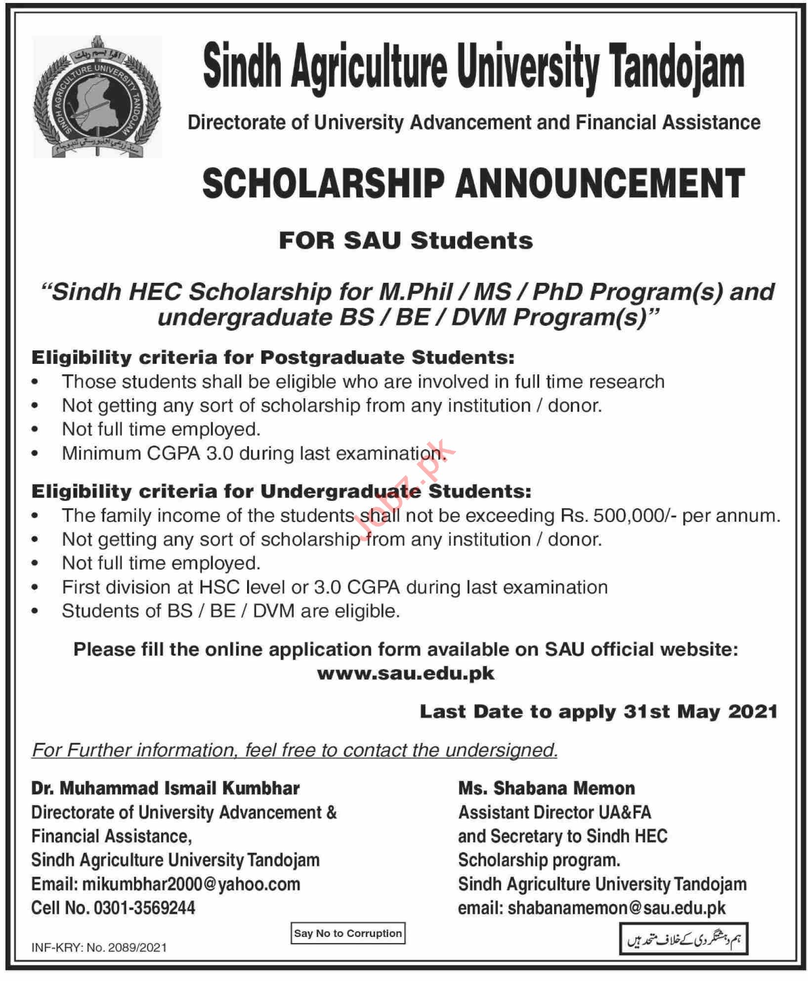 Sindh Agriculture University SAU Tandojam Jobs 2021
