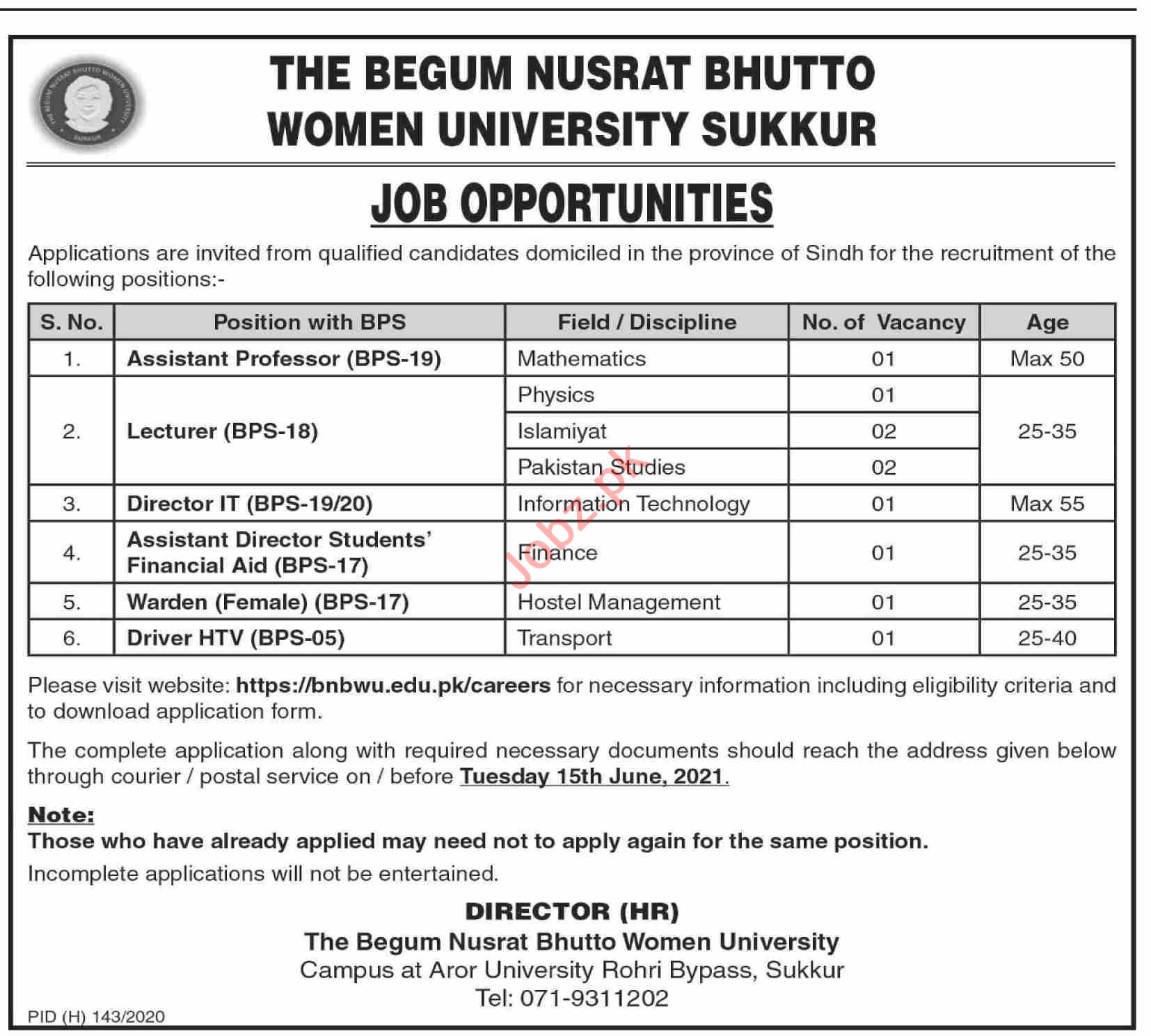 The Begum Nusrat Bhutto Women University BNBWU Jobs 2021