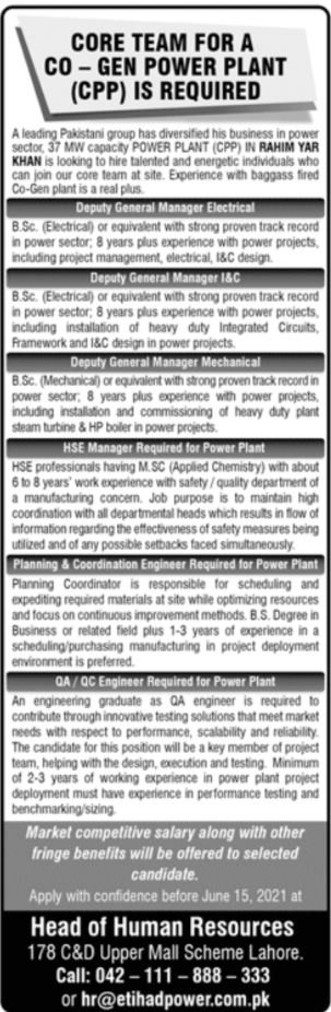 Etihad Power Generation Limited Jobs For Engineering Staff