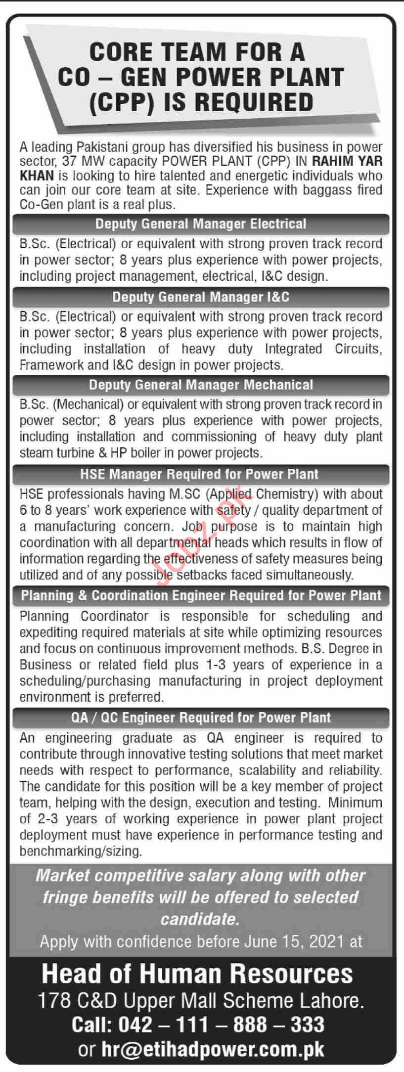 Etihad Power Generation Rahim Yar Khan Jobs 2021