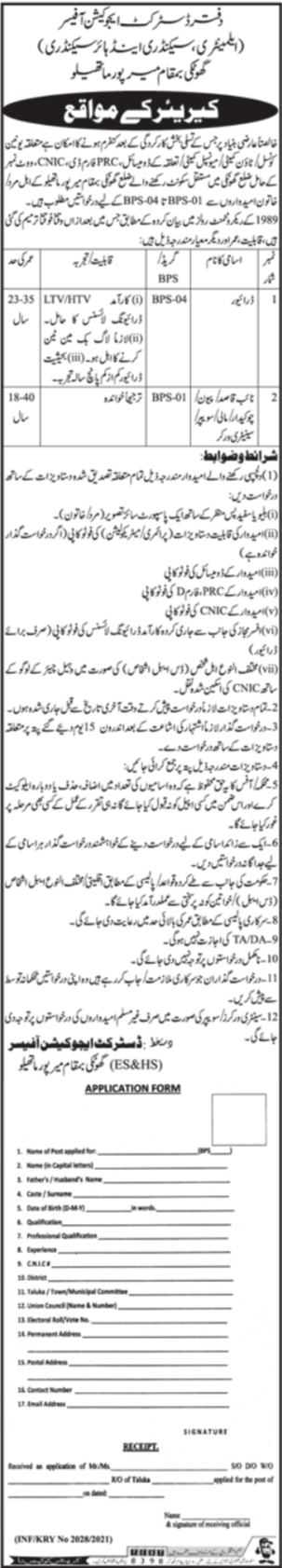 District Education Office Jobs 2021 For Miscellaneous Staff