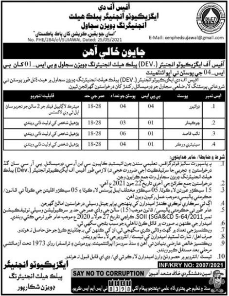 Public Health Engineering Division Sujawal Jobs 2021