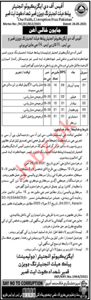 Public Health Engineering Division PHED Shahdadkot Jobs 2021