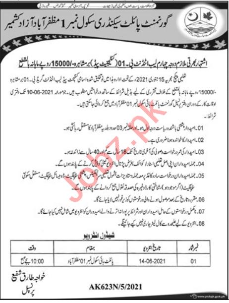 Govt Pilot Secondary School No 1 Muzaffarabad Jobs 2021