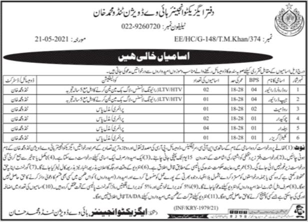 Highways Division Tamdo Muhammad Khan Jobs 2021
