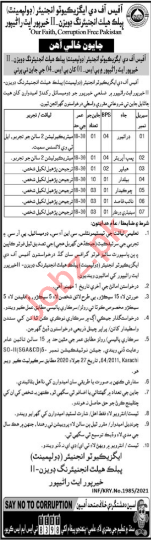 Public Health Engineering Division PHED Khairpur Jobs 2021