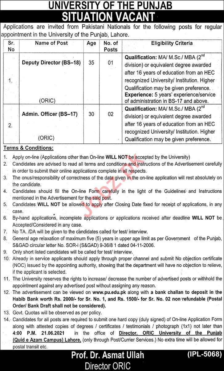 University of the Punjab PU Lahore Jobs 2021 Deputy Director