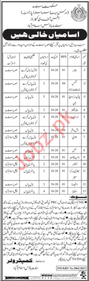 Works & Services Department Sindh House Jobs 2021 for Cook