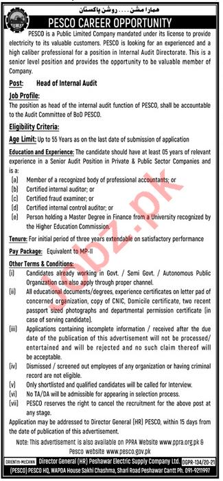 Peshawar Electric Supply Company PESCO Jobs 2021