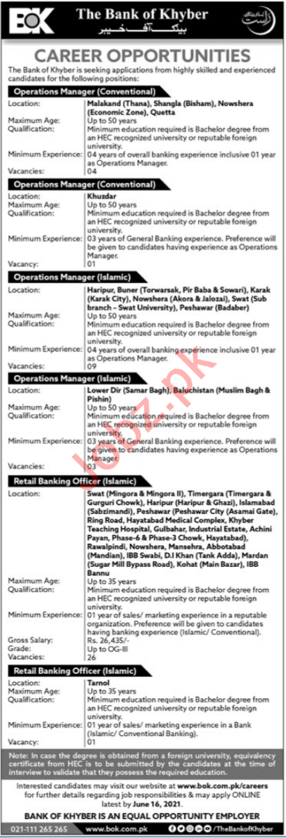 The Bank of Khyber BOK Jobs 2021 for Retail Banking Officer
