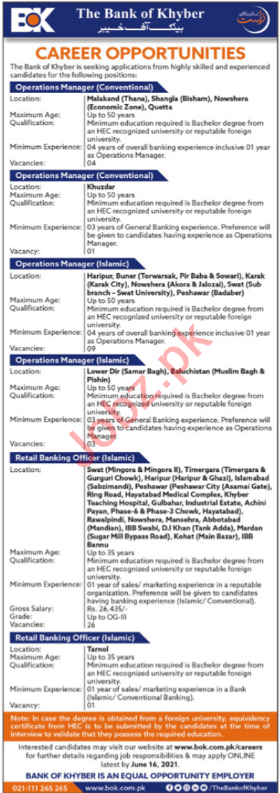 Operations Manager & Retail Banking Officer Jobs 2021 in BOK