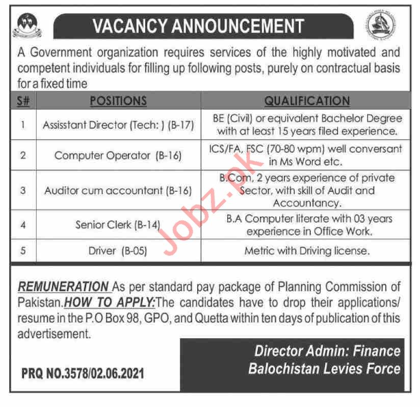 Balochistan Levies Force Jobs 2021 for Assistant Director