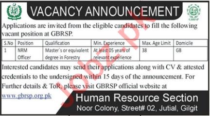 GBRSP Gilgit Baltistan Rural Support Programme Jobs 2021