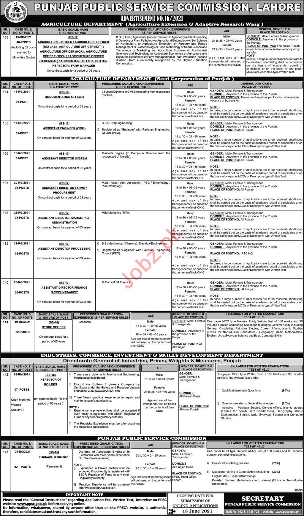 PPSC Advertisement No 16 Jobs June 2021 Jobs 2021