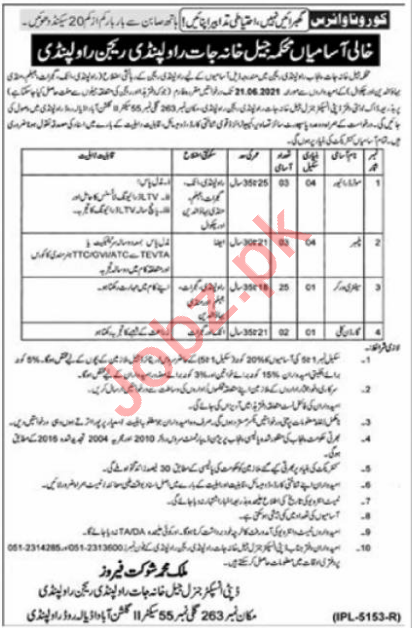 Jail Department Rawalpindi Region Jobs 2021 for Motor Driver