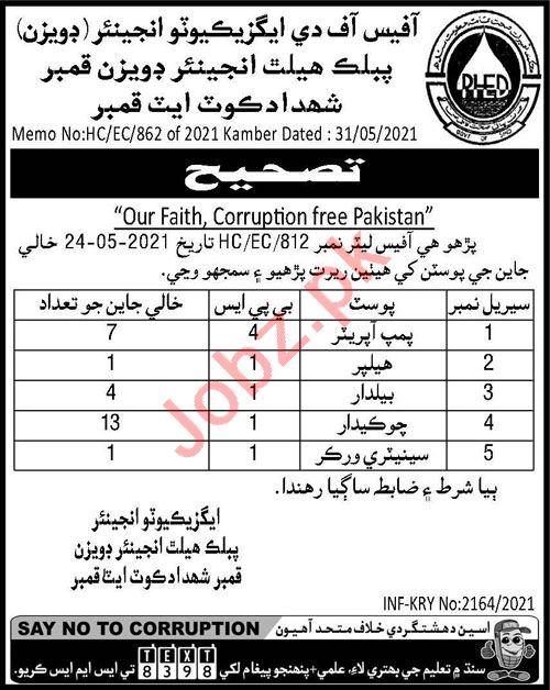 Public Health Engineering Division Shahdadkot Jobs 2021