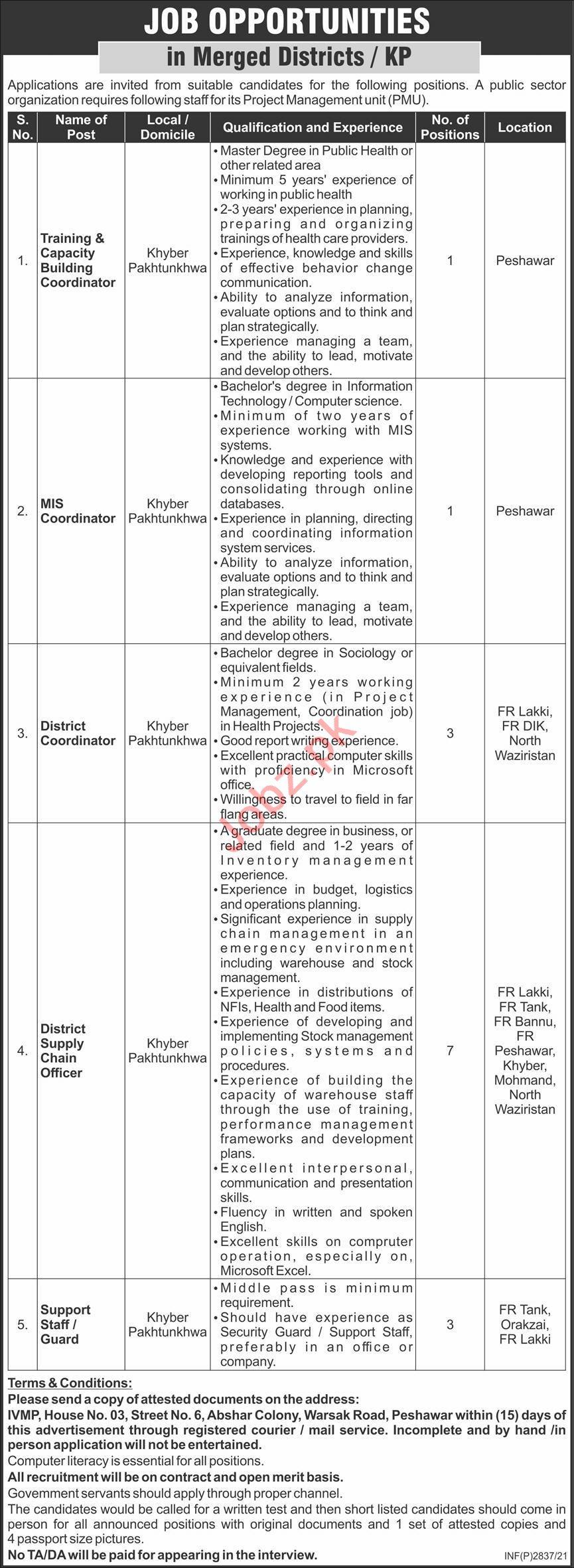 Public Sector Organization KPK Jobs 2021 for Coordinator