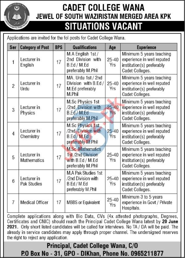 Cadet College Wana CCW Jobs 2021 for Lecturers
