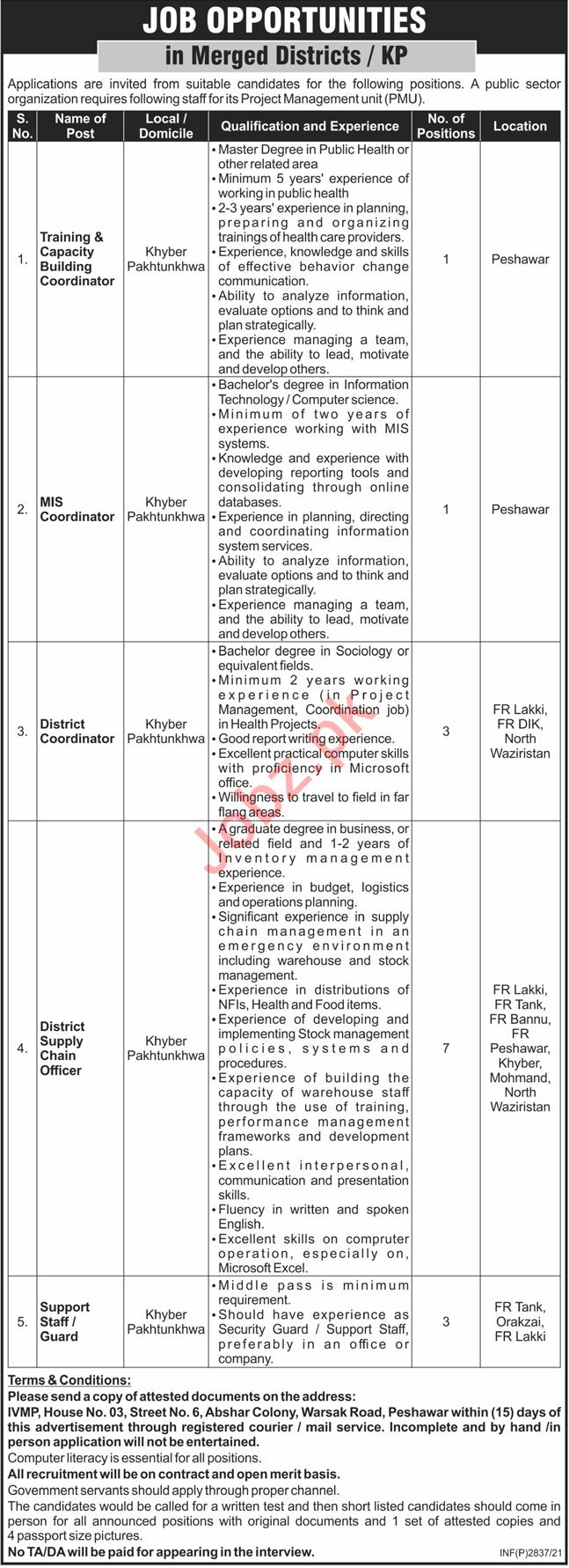 Training & Capacity Building Coordinator Jobs 2021 Peshawar