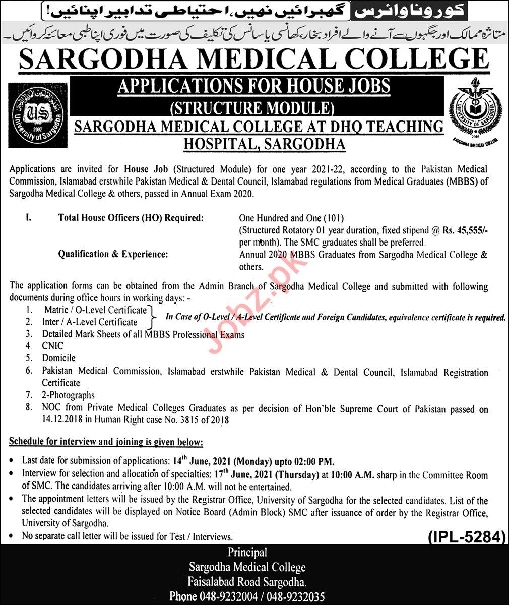 Sargoda Medical College DHQ Teaching Hospital Jobs 2021