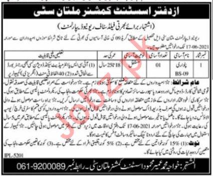 Assistant Commissioner AC Multan City Jobs 2021