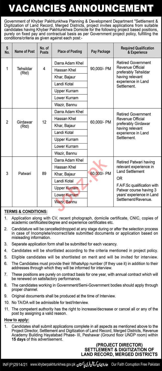 Settlement & Digitization of Land Record KPK Jobs 2021
