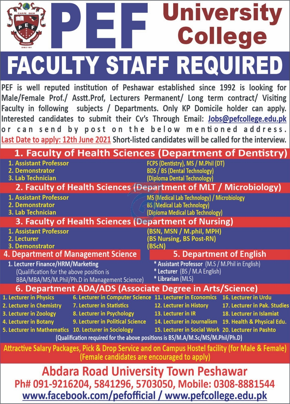 PEF University College Jobs 2021 For Medical Faculty Staff