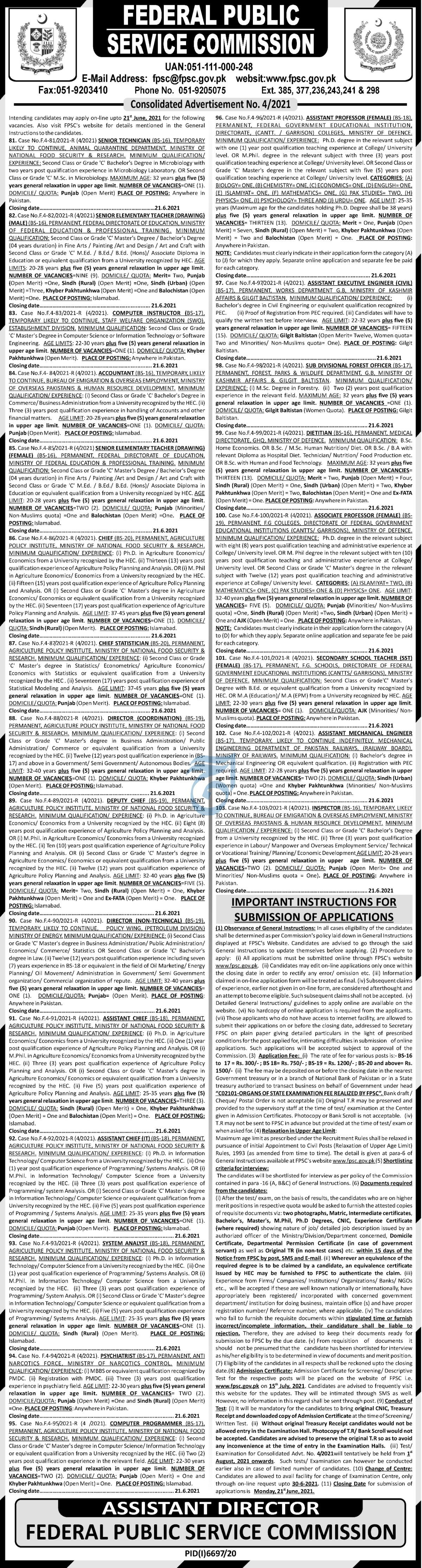 Federal Public Service Commission FPSC Jobs 2021