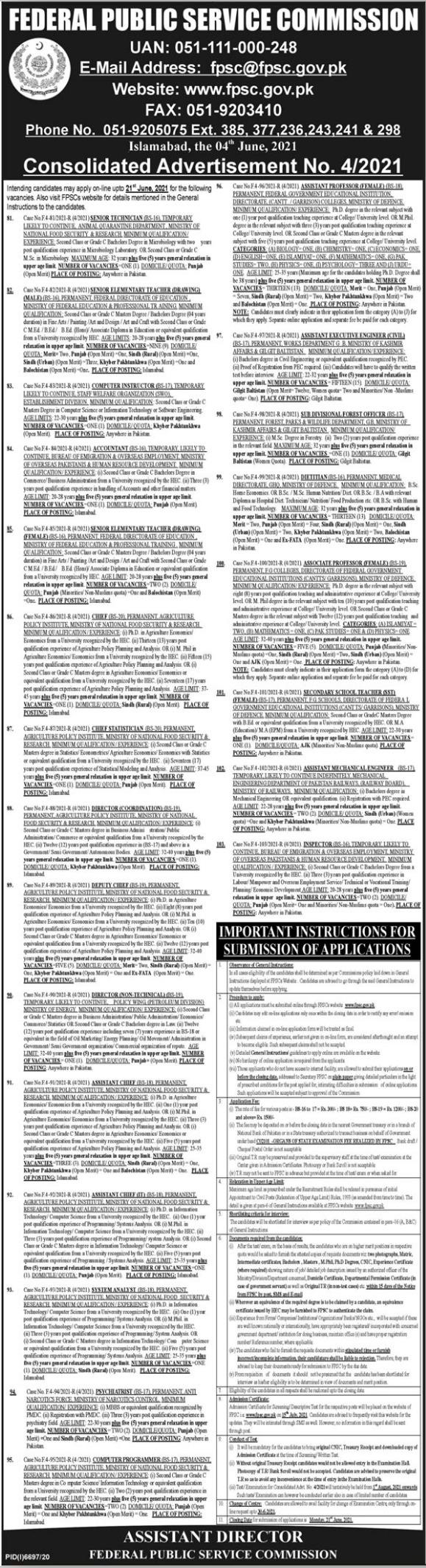 FPSC Jobs Advertisement No 4 June Jobs 2021