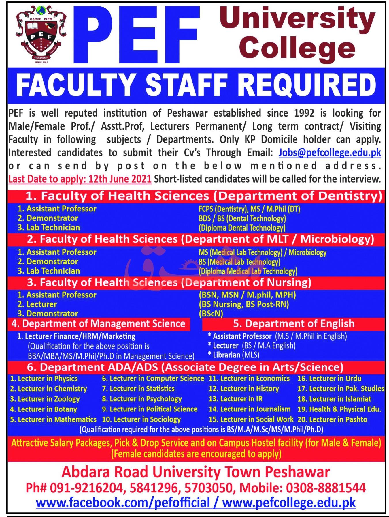 PEF University College Jobs 2021 in Peshawar